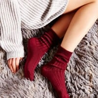 Short Rib Slouchy Crew Sock- Berry One