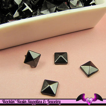 50pc 8mm BLACK NICKEL Pyramid Studs / Steampunk Rivets