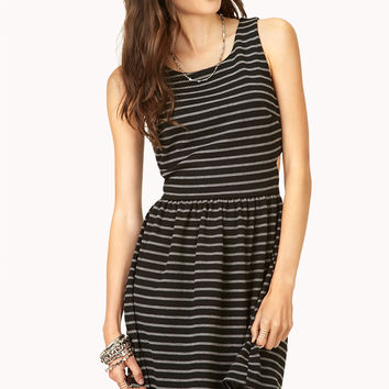 Cutout Striped Fit & Flare Dress