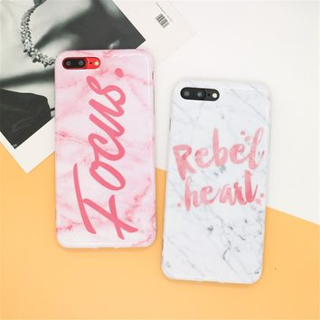 Victoria Fashion Focus Marble Pink Red Secret phone cases For iPhone 7 7 Plus 6 6S Plus Soft TPU Back Cute Fundas Capa Cover New