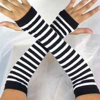 Leg Avenue White Black Stripe Gothic Arm Warmers Gloves Anime Cosplay Punk Pinup Dance
