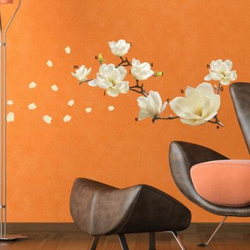 Removeable 3D Wall Stickers Waterproof Magnolia Flower DIY Art Mural Removable Room Home Decoration Decor Vinilos Paredes