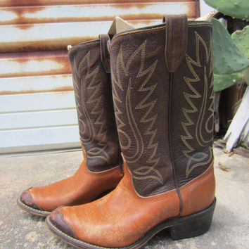 50s Two Tone Cowboy Boots, Youth Sizes US 3,5 / EUR 35 / UK 2.5 // Women Sizes 5 / 35 / 3 // Western Topstitched Boots // Kid's Cowboy Boots