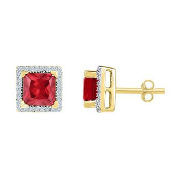 10kt Yellow Gold Womens Princess Lab-Created Ruby Stud Earrings 2.00 Cttw