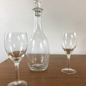 International Silver Company 3-Piece Glass Wine Set, comprised of two wine glasses and a decanter, in the original box