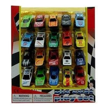 Boys Party Favor Sport Cars 20 Piece Mini Toy Diecast Vehicle Play Set