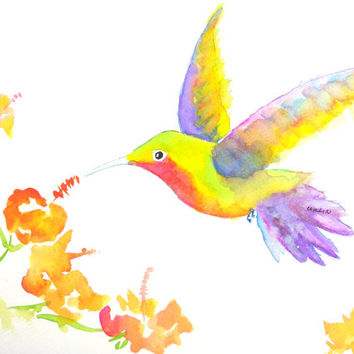 Hummingbird Flying, Original Watercolor, 9x12, Orange flowers,  hovering,feeding,mid-air,bird,wildlife, animal, nature, garden, wings