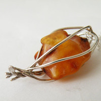 Raw Amber Pendant Necklace Handmade Sterling Silver Cage Boho Necklace Amber Jewelry by SteamyLab