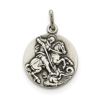 Sterling Silver Antiqued Saint George Medal QC3588