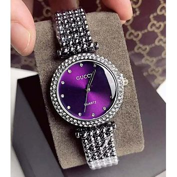"""GUCCI"" High Quality Newest Stylish Women Delicate Diamond Movement Quartz Watch Wristwatch Purple"