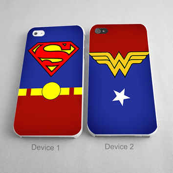 Marvel Matching Phone Cases Superman and Wonderwoman Superhero Couples Phone Case iPhone 4/4S, 5/5S, 5C Series, iPhone 6, 6+ case - Hard Plastic, Rubber Case