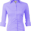 LE3NO Womens Basic Slim Fit 3/4 Sleeve Button Down Shirt Top with Stretch