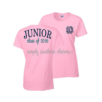 Short Sleeve Junior Tshirt. (1) Junior Class of 2016 TShirt. Simply Southern. Monogrammed Gift. Personalized Gift. Graduation Gift.