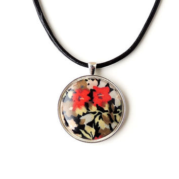 Black & Red Flower Pendant on Black Leather Necklace, Liberty Fabric, Statement Necklace, Resin Jewelry, Flower Fabric Jewelry, UK (1940)