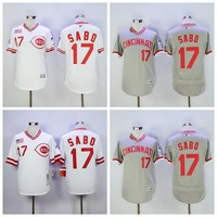 Vintage 17 Chris Sabo Jersey Baseball Cincinnati Reds Flexbase Jerseys Pullover White Grey 1990 Cooperstown Throwback Stitched Best Quality
