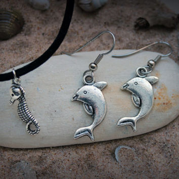 Dolphin Earrings - Seahorse Necklace - Summer Jewelry - Spring Time Jewelry - Beach wedding jewelry - Elegant first date or prom jewelry