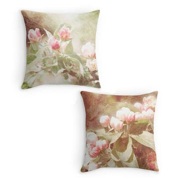 Pink Flower Throw Pillow, Photo Scatter Cushion, 16x16, Apple Blossom, Home Decor, Cushion Cover