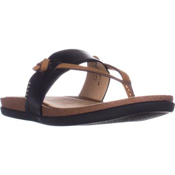 G.H. Bass & Co. Shannon Flat Comfort Sandals, Black, 7.5 US / 38.5 EU