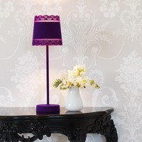 NEW! Little Lacey Purple Flocked Table Lamp
