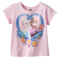 Disney's Frozen Elsa & Anna Heart Tee - Toddler Girl, Size: