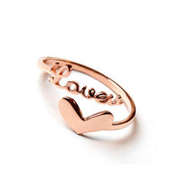 Love and Heart Titanium Steel Ring