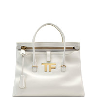 TF Icon Medium Satchel Bag, White - TOM FORD