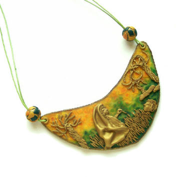 Story statement necklace polymer clay bib necklace tropical colors wearable illustration summer colors bold necklace