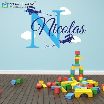 Airplane Clouds Wall Decals Personalized Name Monogram Vinyl Nursery Art Wall Stickers for Boy Kids Rooms Home Decoration