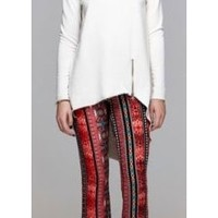 Black Red Ivory Vertical Stripe Print Elastic Waist Flare Bell Bottom Pants