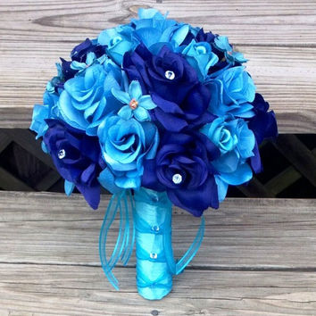 Wedding Bouquet Malibu Blue Bouquet, Bridal Bouquet, Royal Blue Bouquet, Turquoise Bouquet, Malibu Blue Wedding, Blue Bridesmaid