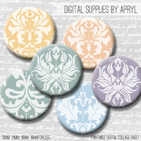 Pastel Damask Digital Collage Sheet 18mm 16mm 14mm 12mm Circle Round on both 4x6 8.5x11 Sheets for Earrings Pendants Cuff Links Image