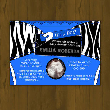 Blue and Zebra stripes Diaper Baby Shower Invitation - Cloth Diaper with Pin Baby Shower Printable Invitation