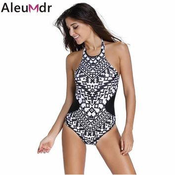 DCCKWQA 3 colors Monochrome Colorful Tribal Print High Neck One Piece Maillot women 2016 swimwear bathing suit swimsuit Monokini 41856