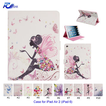 FDM Color Floral Painted Stand Style PU Leather Cover for Apple iPad Air 2 / iPad 6 Case with Magnetic Closure