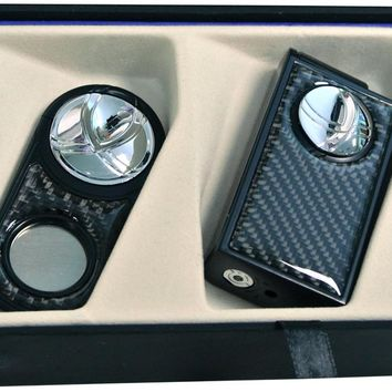 Visol Black Carbon Fiber Infinity Lighter and Cigar Cutter Gift Set