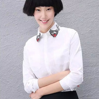 White Fish Embroidery Collar Long Sleeve Button Shirt