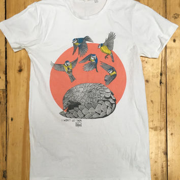 Pangolin and Blue Tits – illustrated t-shirt design
