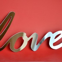 Mirror Word Wall Decor LOVE typography writing by StudioLiscious