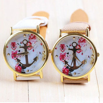 Women's Fashion Leather Floral Printed Anchor Quartz Dress Wrist Watch = 1932625540