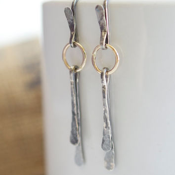 Gold Dangle Earrings, Sterling Silver Earrings, Minimalist Earrings, Oxidized Earrings, Gold and Silver Earrings, Modern Earrings