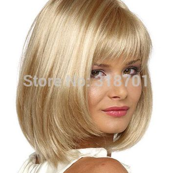 VONE2B5 Blonde Wig Silky Straight Short CLASSY Bob style Synthetic wigs for women free shipping