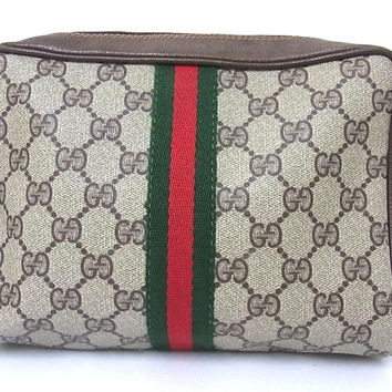 Authentic Gucci Gg Brown Clutch Bag Pouch Purse Pochette Made In Italy