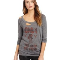 Chaser Women's Good Die Young On Vintage Deconstructed Long Sleeve Tee, Triblend, X-Small