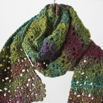 Crochet Handmade Scarf, Thick Yarn, Green, Purple, Blue, Multicolor, Stripes, Winter Accessories - READY TO SHIP
