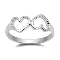 .925 Sterling Silver Twin Open Heart Ring Ladies size 4-10