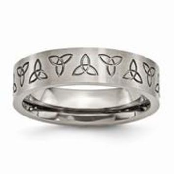 Titanium Flat Engraved Trinity Symbol Brushed 6mm Wedding Band Ring