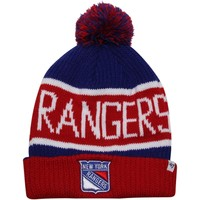 '47 New York Rangers Calgary Cuffed Hat with Pom - Royal Blue/Red