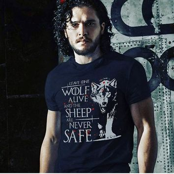 High-Q Unisex Game of Thrones Game of Thrones Night's Watch T-shirt Jon Snow Direwolf Cotton Loose T-shirt Tee Shirt