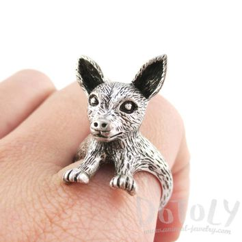 3D Chihuahua Puppy Shaped Animal Ring in Silver | Gifts for Dog Lovers
