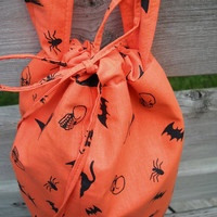 Knitting Bag, Halloween Print Designer Cotton, Drawstring, Matching DPN Case, Crochet, Tote, Pockets, Tab